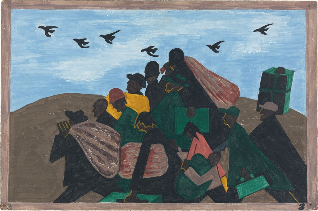 Image of a tempera painting in tones of emerald, beige, pastel blue, black and mustard. A dozen African American people are clustered in the center of the frame, appearing to travel toward the left. They carry bags, boxes and suitcases. Six birds fly overhead, in the same direction.